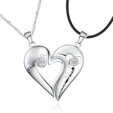 custom necklaces for couples name 925 sterling silver half heart relationship necklace set for