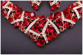 crystal choker necklace set images Fashion red rhinestone crystal necklace earrings set bridal jpg