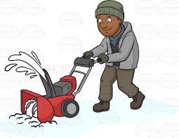 clean emoji a black man using a snow blower to clean the road cartoon