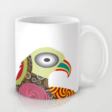 bird mug colourful mug bird lover gift bird design abstract