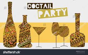 decorative wine glasses bottles zentangle doodle stock vector