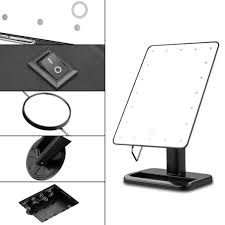 black touch control lighted makeup mirror ovonni tabletop vanity 10x magnification cosmetic mirror 20 led