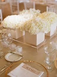 Simple Table Decorations by Low White Hydrangea And Garden Rose Centerpieces Party Planning