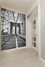 hallway decor ideas wallsauce hallway wallpaper ideas girl on brooklyn bridge wall mural
