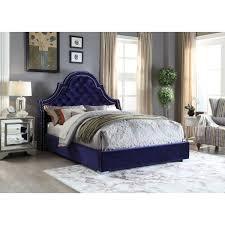 Meridian Bedroom Furniture by Meridian Furniture Madisonnavy Q Madison Deep Tufted Navy Velvet