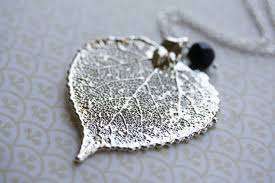 silver leaf necklace pendant images Silver aspen leaf necklace metal silver leaf pendant long jpg