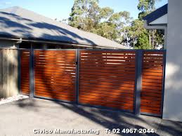 Modern Fence by G26 Horizontal Slat Double Gates In Knotwood Jpg 1280 960