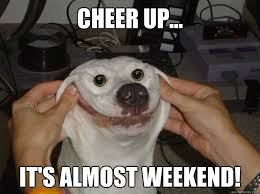 Happy Weekend Meme - cheer up it s almost weekend forced happy dog quickmeme