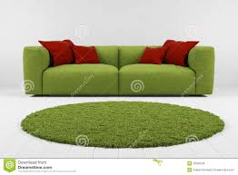 tappeti verdi sof罌 verde con il primo piano tappeto illustrazione di stock