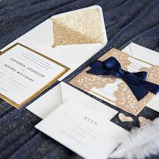 paper for wedding invitations gold and navy blue glitter wedding invitations with