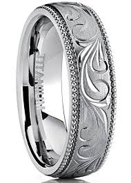 vintage titanium rings images Men 39 s women 39 s hand engraved vintage titanium wedding band unisex jpg