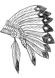 coloring pages of indian feathers american native indian feather headress coloring page free