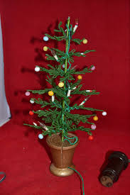 mini christmas tree with lights true vintage1960s green10 artificial decorated mini christmas tree