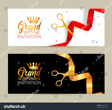 Invitation Card Of Opening Ceremony Grand Opening Invitation Banners Ribbon Cut Stock Vector 435814624