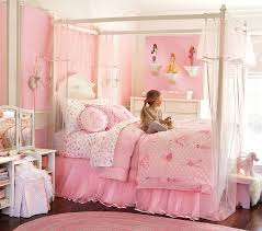 Pink Canopy Bed Cute And Sophisticated Young Girl Bedroom Design Showcasing Birch