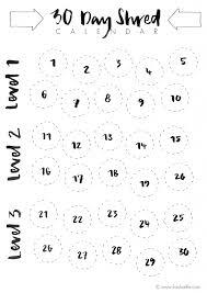 30 day shred countdown calendar calendar printable 2017