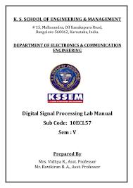 dsp lab manual 10ecl57 vtu syllabus kssem