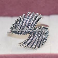 Pandora Wedding Rings by 2017 925 Sterling Silver Majestic Feathers Ring With Clear Cubic
