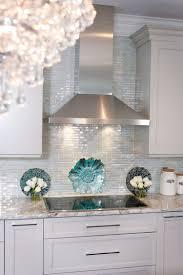 kitchen white cabinets aqua accessories tile backsplash