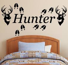 deer wall decals roselawnlutheran personalized name 2 deer heads u0026 tracks vinyl wall decal sticker hunting decor