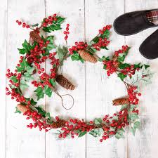 winter ivy and holly berry christmas garland by dibor
