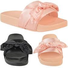 kids children girls flat slider satin silky bow flip flop summer