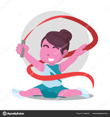 ribbon dancer pink ribbon dancer doing split stock vector funwayillustration