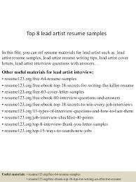 Artist Resume Samples by Top 8 Lead Artist Resume Samples 1 638 Jpg Cb U003d1433156862