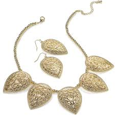 gold plated fashion necklace images Gold plated fashion women 39 s large filigree cut out pear shape jpg