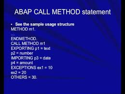 abap call method statement youtube