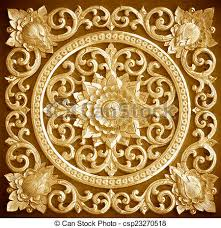 wood carving background decorated with floral designs stock