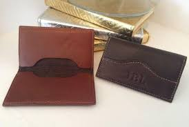 Leather Personalized Business Card Holder Personalized Leather Business Card Holder The Monogram Merchant