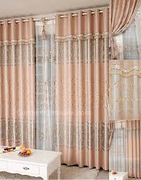 primitive print fiber faux silk pink french country style curtains