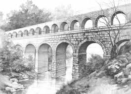 drawn bridge roman aqueduct pencil and in color drawn bridge