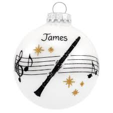 personalized clarinet with music staff and stars glass ornament