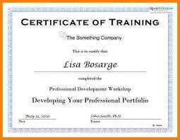 training certificate training certificate template free sample