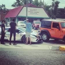crashed jeep wrangler chrome lamborghini gallardo driven by female student crashed into