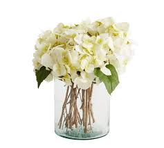 Bouquet Of Flowers In Vase Faux White Hydrangea Arrangement In Glass Vase Pottery Barn