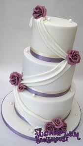 3 Tier Wedding Cake White U0026 Lilac 3 Tier Wedding Cake Drapes U0026 Roses Cake By Sam