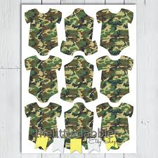 baby shower camo camo baby onesie favor gift tags army military hunting