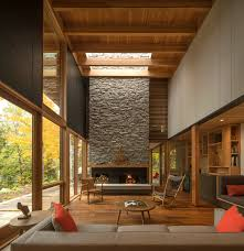 vacation retreat outside of toronto with a double height living
