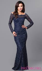 lace long sleeve off shoulder prom dress promgirl