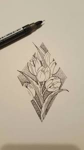 tulips and dotwork fineline tattoo sketch by james tripleace on