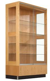 wooden glass door elegant double clear glass display cabinet come with maple wooden