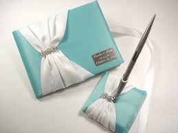 wedding guest book and pen set personalized wedding guest book set in robin s egg blue