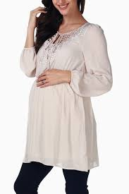 maternity blouse ivory chiffon crochet accent maternity blouse