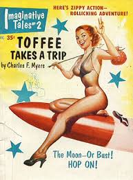 A shapely woman wearing only high heels and a bra, straddles a red bullet rocket. She has no waist, but enormous boobs