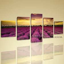 Bedroom Wall Framed Art Landscape Wall Art On Canvas Hd Print Lavender Sunset Glow Scene