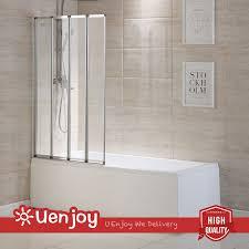 4 fold chrome frame folding bath shower screen door panel glass