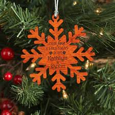 our first christmas snowflake ornament personalized wood